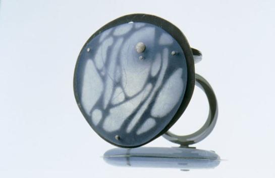 ring, acrylic glass, oxydized silver