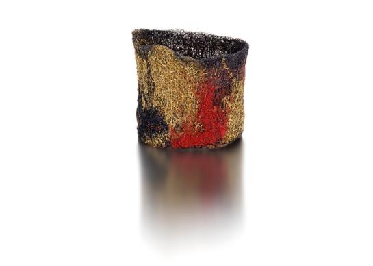 "Lucia Massei ""Orientale"" bracelet, 2014 ancient epaulettes,  copper, yellow gold, silk"