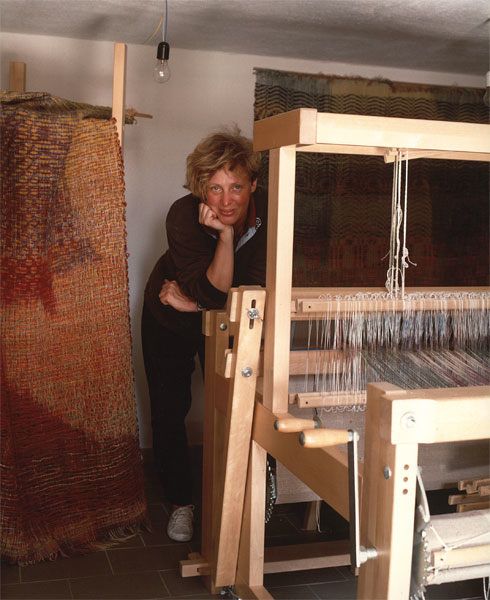 Doris Maninger with her loom, about 20 years ago