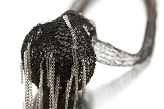 doris maninger, necklace, detail, iron and silver
