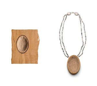 Madeleine 001, Necklace, lemon wood, aluminum, silver, 18kt gold, 2016. Photo by Federico Cavicchioli
