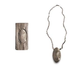 Madeleine 004, pendant, oak wood, aluminium, silver, 2016. Photo by Federico Cavicchioli